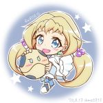 1boy 1girl blonde_hair blue_eyes chibi copyright_name dated eve_(gundam_build_divers_re:rise) gundam gundam_build_divers gundam_build_divers_re:rise haro kuga_hiroto robot shokkaa_(shmz61312) star_(symbol) twintails