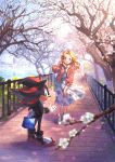 1boy 1girl absurdres adjusting_hair bag bench blonde_hair blue_eyes blurry_foreground cherry_blossoms commentary_request cross-laced_footwear floral_print full_body furry highres holding holding_bag jacket lake long_hair long_skirt looking_at_viewer looking_back maria_robotnik mochizuki_anko red_eyes shadow_the_hedgehog skirt smile sonic_the_hedgehog standing sweater tree