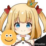 1girl bangs bare_shoulders black_wings blonde_hair blue_eyes blush bow closed_mouth commentary_request crown emoji eyebrows_visible_through_hair fur_collar hair_bow looking_at_viewer maaru_(shironeko_project) miicha mini_crown mismatched_wings red_bow shironeko_project simple_background smile solo tilted_headwear twitter_username two_side_up upper_body white_background white_wings wings
