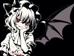 1girl bangs bat_wings black_background black_nails blood blood_from_mouth bloody_clothes bow brooch commentary_request diamond-shaped_pupils diamond_(shape) fang fang_out hand_on_own_cheek hand_up hat hat_bow high_contrast highres jewelry kyouda_suzuka looking_at_viewer mob_cap monochrome red_eyes remilia_scarlet shirt short_hair short_sleeves simple_background smile solo spot_color symbol-shaped_pupils touhou upper_body wings