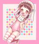 1girl animal_ears bib blush brown_eyes brown_hair clenched_hands clothes_writing fake_animal_ears hat heart heart_print highres kneeling leotard loli long_hair low_twintails mouth_hold original pacifier pink_background pink_headwear pink_legwear pink_leotard print_leotard rabbit_ears solo striped striped_legwear thigh-highs thighs twintails usamiru