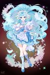 1girl :d blue_dress blue_eyes blue_hair boots collarbone cure_ange dress floating_hair full_body highres hugtto!_precure knee_boots layered_dress long_hair looking_at_viewer multicolored multicolored_clothes multicolored_dress open_mouth precure shiny shiny_hair shipu_(gassyumaron) short_dress smile solo standing very_long_hair white_dress white_footwear wrist_cuffs