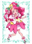 1girl :d absurdres bangs bow choker collarbone cure_grace earrings eyebrows_visible_through_hair floating_hair flower gloves green_bow hair_flower hair_ornament healin'_good_precure heart heart_hair_ornament highres holding itaoka_nishiki jewelry layered_skirt long_hair looking_at_viewer miniskirt multicolored multicolored_clothes multicolored_skirt open_mouth pink_eyes pink_hair precure rabirin_(precure) red_choker shiny shiny_hair short_sleeves skirt smile solo very_long_hair white_gloves yellow_flower