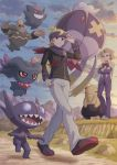 2boys absurdres bangs black_sweater blonde_hair bow bowtie cape clouds commentary_request crossed_arms drifblim drowzee dusknoir gen_1_pokemon gen_2_pokemon gen_3_pokemon gen_4_pokemon gengar grass grey_pants hand_up headband highres long_sleeves matsuba_(pokemon) minaki_(pokemon) misdreavus multiple_boys outdoors pants pokemoa pokemon pokemon_(game) pokemon_hgss purple_scarf red_neckwear ribbed_sweater rock sableye scarf sky sweater twilight walking