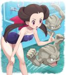1girl absurdres alternate_costume arched_back bent_over blush breasts brown_hair collarbone commentary_request eyelashes gen_1_pokemon geodude hair_ribbon hand_on_own_knee highres index_finger_raised knees long_hair motion_lines one-piece_swimsuit open_mouth pink_eyes pink_ribbon pokemoa pokemon pokemon_(creature) pokemon_(game) pokemon_oras purple_swimsuit ribbon swimsuit tile_floor tiles tongue tsutsuji_(pokemon) twintails