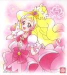 1girl :d bangs blonde_hair blue_eyes bow choker collarbone cure_flora dress earrings gloves go!_princess_precure gradient_hair highres jewelry long_hair looking_at_viewer multicolored_hair official_art open_mouth parted_bangs pink_bow pink_dress pink_hair precure short_sleeves smile solo standing very_long_hair white_gloves white_sleeves