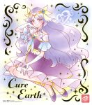 1girl anklet blue_eyes character_name circlet closed_mouth collarbone cure_earth dress earrings elbow_gloves full_body gloves hair_tubes healin'_good_precure highres jewelry long_dress long_hair looking_at_viewer official_art precure pumps purple_dress purple_footwear purple_hair shiny shiny_hair short_sleeves smile solo very_long_hair white_gloves
