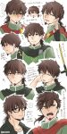1boy ? alternate_costume alternate_hairstyle brown_eyes brown_hair chibi cropped_torso facial_hair fate/grand_order fate_(series) glasses goatee green_eyes hector_(fate/grand_order) highres itokon300 long_hair looking_at_viewer male_focus medium_hair multiple_views smile translation_request upper_body