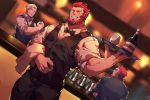 3boys absurdres alcohol alternate_costume bar bara bartender beard black_pants black_shirt black_vest blue_eyes bow bowtie brown_hair chest chinese_commentary closed_eyes closed_mouth cocktail_glass commentary_request cup drinking_glass facial_hair fate/grand_order fate/zero fate_(series) glasses goatee grey_hair guoguo highres holding indoors iskandar_(fate) james_moriarty_(fate/grand_order) long_sleeves looking_to_the_side male_focus multiple_boys muscle mustache napoleon_bonaparte_(fate/grand_order) pants redhead shading_eyes shirt sideburns sitting sleeves_rolled_up smile thighs uniform upper_body vest waiter white_shirt