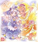 2girls :d blonde_hair blue_eyes circlet collarbone cure_selene cure_soleil dress earrings floating_hair hand_on_hip highres jewelry leg_up long_hair multiple_girls official_art open_mouth orange_dress outstretched_arm outstretched_hand precure purple_dress purple_hair shiny shiny_hair short_sleeves smile standing star_twinkle_precure very_long_hair violet_eyes yellow_legwear