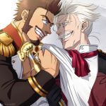 2boys beard blue_eyes brown_hair chest commentary_request epaulettes facial_hair fate/grand_order fate_(series) fighting_stance gloves grey_hair highres james_moriarty_(fate/grand_order) long_sleeves male_focus military military_uniform multiple_boys muscle mustache napoleon_bonaparte_(fate/grand_order) pectorals scar simple_background smile staff suzuki80 teeth uniform vest