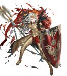1girl armor armored_boots axe battle_axe black_legwear blue_eyes boots breastplate cape closed_mouth crown cuboon edelgard_von_hresvelg feather_trim feathers fire_emblem fire_emblem:_three_houses fire_emblem_heroes full_body gauntlets hair_ornament highres holding holding_weapon lips looking_at_viewer official_art pantyhose red_cape shield silver_hair solo transparent_background weapon