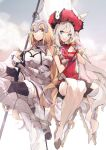 2girls armor black_legwear blonde_hair blue_eyes chocolate clouds cloudy_sky fate/apocrypha fate/grand_order fate_(series) flag gift highres holding jeanne_d'arc_(fate) jeanne_d'arc_(fate)_(all) marie_antoinette_(fate) multiple_girls no-kan silver_hair sitting skirt sky valentine white_legwear