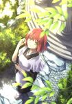 1girl apron bangs black_kimono blurry bow chiizu_ore cobblestone day depth_of_field frilled_apron frills from_above garden hair_bow hand_up highres japanese_clothes kimono kohaku_(tsukihime) leaf light_smile looking_at_viewer looking_up okobo outdoors pink_hair short_hair solo sunlight tabi tsukihime wa_maid wide_sleeves yellow_eyes