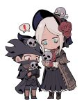 ! 1boy 1girl 5unri5e666 ascot bangs black_cloak black_coat black_dress black_footwear black_gloves black_hair black_pants bloodborne blue_eyes bonnet boots chibi cloak closed_mouth coat commentary_request doll_joints dress fingerless_gloves flower full_body gloves hat holding holding_another hunter_(bloodborne) joints knee_boots long_coat long_dress long_sleeves looking_at_another mask medium_hair messengers_(bloodborne) mouth_mask o_o open_mouth pants parted_bangs plain_doll red_eyes red_gloves red_neckwear rose shared_speech_bubble shoes short_hair silver_hair simple_background solid_circle_eyes speech_bubble teeth tricorne vambraces white_background