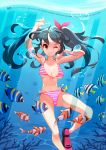 1girl absurdres bikini black_hair bow breasts english_text engrish_text flippers front-tie_top hair_bow highres large_breasts navel one_eye_closed original ranguage side-tie_bikini smile soar striped striped_bikini swimsuit tan tanline tropical_fish twintails underwater yellow_eyes