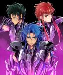 3boys aquarius_camus armor capricorn_shura dark_armor gemini_saga long_hair male purple_armor saint_seiya saito_katuo shining_armor