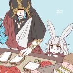 1boy 1girl animal_ears artist_name awestruck basket blue_background blush child crystal crystal_exarch final_fantasy final_fantasy_xiv fingernails food grey_eyes grey_hair holding holding_knife hood hood_up knife lili_mdoki miqo'te open_mouth rabbit_ears redhead sandwich shaded_face signature simple_background smile sparkle table teeth tomato tongue viera