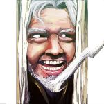 1boy beard christopher_columbus_(fate/grand_order) commentary_request face facial_hair fate/grand_order fate_(series) hair_ornament lightning_bolt lightning_bolt_hair_ornament looking_to_the_side odeyama open_mouth parody signature solo teeth the_shining white_hair