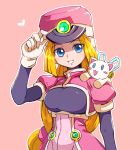 1girl android bangs blonde_hair blue_eyes breasts capcom cat gloves hat long_hair prairie puffy_sleeves rockman rockman_zx sakuraba_(kirsche_x) shako_cap simple_background smile solo