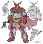 absurdres axe cape clenched_hand getter-1 getter_robo highres holding holding_axe looking_down mecha multiple_views no_humans redesign super_robot white_background yellow_eyes zen_(jirakun)