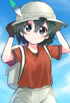 1girl adjusting_clothes adjusting_hat backpack bag black_gloves black_hair blue_eyes blue_sky blush closed_mouth clouds commentary_request day gloves hair_between_eyes hand_on_headwear hat hat_feather helmet highres kaban_(kemono_friends) kemono_friends looking_at_viewer pith_helmet red_shirt shirt short_hair shorts sky smile solo usagi_koushaku wavy_hair