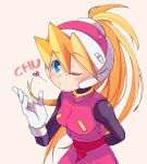 1girl bangs blonde_hair blown_kiss blue_eyes blush breasts ciel_(rockman) eyebrows_visible_through_hair gloves hair_between_eyes headgear helmet high_ponytail long_hair one_eye_closed ponytail rockman rockman_zero sakuraba_(kirsche_x) simple_background small_breasts solo white_background white_gloves
