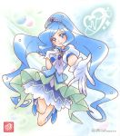1girl :d bangs blue_eyes blue_footwear blue_hair blue_vest cure_fontaine dress floating_hair gloves hair_ornament healin'_good_precure heart heart_hair_ornament highres jewelry layered_dress long_hair looking_at_viewer official_art open_mouth outstretched_arm pendant precure reaching_out shiny shiny_hair short_dress short_sleeves smile solo swept_bangs very_long_hair vest white_background white_dress white_gloves white_sleeves
