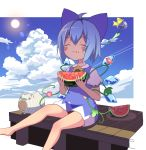 1girl :t ahoge arms_up barefoot blue_dress blue_hair blue_sky blush_stickers cirno closed_eyes clouds commentary day dress eating eyebrows_visible_through_hair flower food foot_out_of_frame fruit hair_ribbon highres holding holding_food kayari_buta leg_lift lens_flare morning_glory outdoors pinafore_dress puffy_short_sleeves puffy_sleeves ribbon shirt short_dress short_hair short_sleeves sitting sky solo sun touhou tsuri_buta watermelon white_shirt wind_chime wings