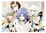 4boys androgynous armor black_eyes black_hair blue_eyes blue_hair cancer_deathmask cape capricorn_shura exclamation_mark gemini_saga golden_armor helmet lips long_hair male mizuhara_aki mole mole_under_eye pisces_aphrodite reading red_eyes robe saint_seiya short_hair sitting white_hair