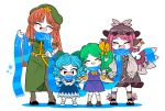 4girls animal_ears beret black_footwear blue_dress blue_hair blue_scarf blush_stickers bow braid brown_dress brown_footwear brown_headwear cirno closed_eyes clothes_writing commentary_request crossed_arms daiyousei detached_wings dress facing_viewer fairy_wings fang feathers fingernails full_body green_bow green_hair green_headwear green_nails green_skirt green_vest grey_legwear hair_bow hand_up hat hong_meiling ice ice_wings jewelry long_fingernails long_hair mob_cap multiple_girls mystia_lorelei open_mouth orange_hair pantyhose pink_hair pointy_ears purple_skirt purple_vest red_neckwear scarf shared_scarf shirt shoes short_hair side_ponytail simple_background single_earring skin_fang skirt smile snowflakes socks star_(symbol) touhou twin_braids vest white_background white_legwear white_shirt wings yellow_bow yellow_neckwear yt_(wai-tei)