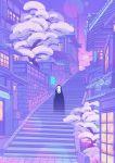 absurdres highres house kaonashi owakita pastel_colors plant sen_to_chihiro_no_kamikakushi sky solo stairs studio_ghibli tree