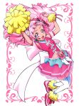 1girl :d absurdres arm_strap breasts card_(medium) clover_earrings crop_top cure_yell double_bun floating_hair flower full_body hair_flower hair_ornament hair_ribbon heart heart_hair_ornament highres hugtto!_precure itaoka_nishiki long_hair looking_at_viewer midriff miniskirt navel open_mouth pink_eyes pink_hair pink_skirt pleated_skirt pom_poms precure red_ribbon ribbon shiny shiny_hair skirt small_breasts smile solo stomach thigh-highs very_long_hair white_background white_flower white_legwear zettai_ryouiki
