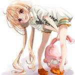 1girl bangs bent_over blonde_hair clothes_writing commentary_request eyebrows_visible_through_hair futaba_anzu highres holding holding_stuffed_animal idolmaster idolmaster_cinderella_girls long_hair looking_at_viewer low_twintails open_mouth orange_footwear pink_eyes rino_cnc shirt short_sleeves simple_background smile solo standing stuffed_animal stuffed_bunny stuffed_toy t-shirt twintails white_background you_work_you_lose