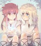 2boys aquarius_camus armor blonde_hair blue_eyes child greek_clothes ice kids long_hair mizuhara_aki red_eyes red_hair saint_seiya scorpio_milo sitting snowflake
