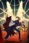 2girls apron black_footwear black_pants black_suit blonde_hair brown_footwear bun_cover chair commentary cup dancing dress drinking_glass eyes_visible_through_hair face-to-face fate/apocrypha fate/grand_order fate_(series) frankenstein's_monster_(fate) frilled_dress frills from_side full_body gloves hair_bun highres holding holding_tray looking_at_another maid_apron maid_dress medium_hair mordred_(fate)_(all) multiple_girls pants pink_hair ponytail profile red_dress scrunchie shoes short_hair spiky_hair stage_lights standing table tai_kusu tray tuxedo white_gloves wine_glass wooden_floor