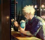 1boy bakugou_katsuki blonde_hair boku_no_hero_academia city city_lights cityscape clouds desert glasses milkshake night open_mouth plant reflection shirt sky solo spiky_hair spoon taro-k