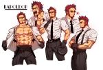 1boy abs bara beard blue_eyes blush brown_hair chest collage facial_hair fate/grand_order fate_(series) goatee looking_at_viewer male_focus multiple_views muscle na_insoo napoleon_bonaparte_(fate/grand_order) open_clothes open_shirt pectorals scar sideburns smile sunglasses suspenders undressing