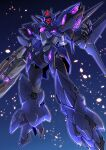 absurdres alus_earthree_gundam amakawa_mayu floating glowing glowing_eye gun gundam gundam_build_divers gundam_build_divers_re:rise highres holding holding_gun holding_weapon looking_down mecha mobile_suit one-eyed open_hand red_eyes science_fiction solo v-fin weapon