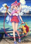 1girl ass_visible_through_thighs blonde_hair blush clouds eyebrows_visible_through_hair fate/grand_order fate/kaleid_liner_prisma_illya fate_(series) hair_between_eyes hiroyama_hiroshi hose illyasviel_von_einzbern illyasviel_von_einzbern_(swimsuit_archer)_(fate) long_hair official_art one-piece_swimsuit open_mouth red_eyes shadow sky smile swimsuit twintails two_side_up visor_cap water wooden_bridge