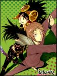 2boys back-to-back bakuman barefoot black_gloves black_hair brown_eyes brown_hair brown_headwear copyright_name crow_(bakuman) feather-trimmed_gloves feather_trim feathers fingernails fleur-de-lis gloves hair_between_eyes headgear highres holding holding_pen holding_sword holding_weapon male_focus multiple_boys niizuma_eiji parted_lips patterned patterned_background pen pose red_eyes smile spiky_hair standing striped sword teeth weapon