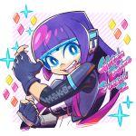1girl bangs fingerless_gloves glitch_techs gloves head_mounted_display miko_kubota pink_hair purple_hair smile solo sunafuki_tabito upper_body visor