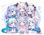 6+girls ahoge beret blue_bow blue_hair borrowed_design bow bowtie capelet character_name chibi commentary detached_sleeves dress fur-trimmed_dress fur_trim hair_ornament hair_rings hat hat_bow hatsune_miku highres knees_up lace-trimmed_capelet light_blue_hair long_hair looking_at_viewer mini_hat mini_top_hat multiple_girls nonkomu_(furiten5553) open_mouth pastel_colors signature sitting smile snowflake_hair_ornament snowflake_print string_of_light_bulbs top_hat twintails very_long_hair vocaloid white_capelet white_dress white_hair white_headwear white_sleeves yuki_miku