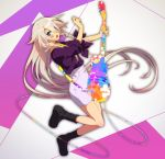 1girl black_footwear blue_eyes boots braid floating_hair full_body guitar hair_between_eyes holding holding_instrument ia_(vocaloid) instrument long_hair looking_at_viewer matsuda_toki music open_mouth pencil_skirt playing_instrument plectrum purple_shirt purple_skirt shirt side_braid skirt solo twin_braids very_long_hair vocaloid white_hair