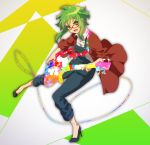 1girl bass_guitar black_footwear collared_shirt full_body glasses green_eyes green_hair gumi high_heels holding holding_instrument instrument jacket looking_at_viewer matsuda_toki music open_clothes open_jacket open_mouth overalls playing_instrument red-framed_eyewear red_jacket shirt short_hair sidelocks solo v-shaped_eyebrows vocaloid white_shirt wing_collar