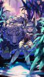 1girl animal_ears bangs bare_shoulders blunt_bangs breasts byakko_(xenoblade) detached_sleeves fang highleg highleg_leotard highres leotard night niyah niyah_(blade) outdoors pito_(pitosan) plant silver_hair small_breasts soaking_feet thigh-highs tiger white_tiger xenoblade_(series) xenoblade_2