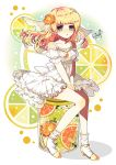 1girl artist_name blonde_hair chain commentary_request dress eyebrows_visible_through_hair flower food frilled_dress frills fruit fruit_background green_eyes hair_flower hair_ornament hands_on_lap herbarium high_heels highres long_hair murasaki_daidai_etsuo orange orange_flower orange_slice original sitting solo twitter_username veil white_dress yellow_footwear