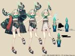 1girl :d belt bottle breasts character_sheet commentary_request full_body green_hair highres horns ji_no little_match_girl_(sinoalice) looking_at_viewer molotov_cocktail official_art open_mouth oversized_clothes platform_footwear red_eyes scarf single_horn sinoalice sleeves_past_wrists small_breasts smile square_enix translation_request upper_teeth