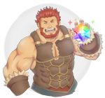 1boy bara bare_shoulders beard brown_hair chest facial_hair facing_viewer fate/grand_order fate/zero fate_(series) iskandar_(fate) male_focus manly muscle pectorals redhead saint_quartz simple_background smile solo upper_body yanutorie