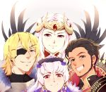 2boys 2girls absurdres armor aura0702 blonde_hair blue_eyes brown_hair claude_von_riegan closed_mouth dark_skin dark_skinned_male dimitri_alexandre_blaiddyd earrings edelgard_von_hresvelg eyepatch fake_horns fire_emblem fire_emblem:_three_houses fire_emblem_heroes fur_trim green_eyes grin hair_ornament hat headpiece highres horns jewelry long_hair lysithea_von_ordelia multiple_boys multiple_girls pink_eyes short_hair simple_background smile twitter_username violet_eyes white_hair